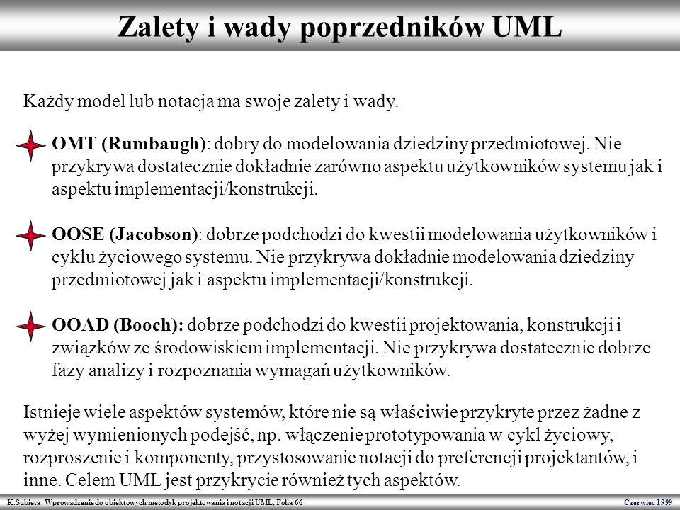 Zalety i wady poprzedników UML