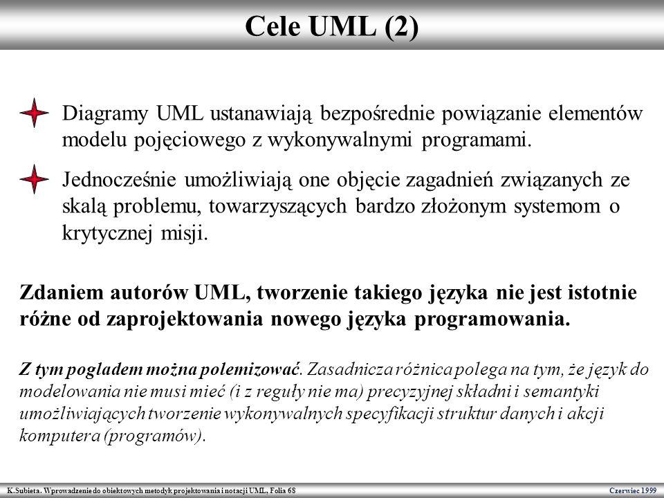 Cele UML (2) Diagramy UML ustanawiają bezpośrednie powiązanie elementów modelu pojęciowego z wykonywalnymi programami.