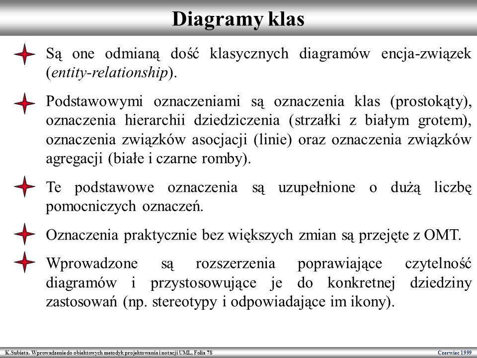 Diagramy klas Są one odmianą dość klasycznych diagramów encja-związek (entity-relationship).