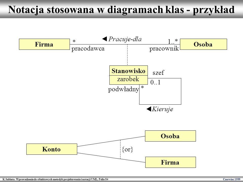 Notacja stosowana w diagramach klas - przykład