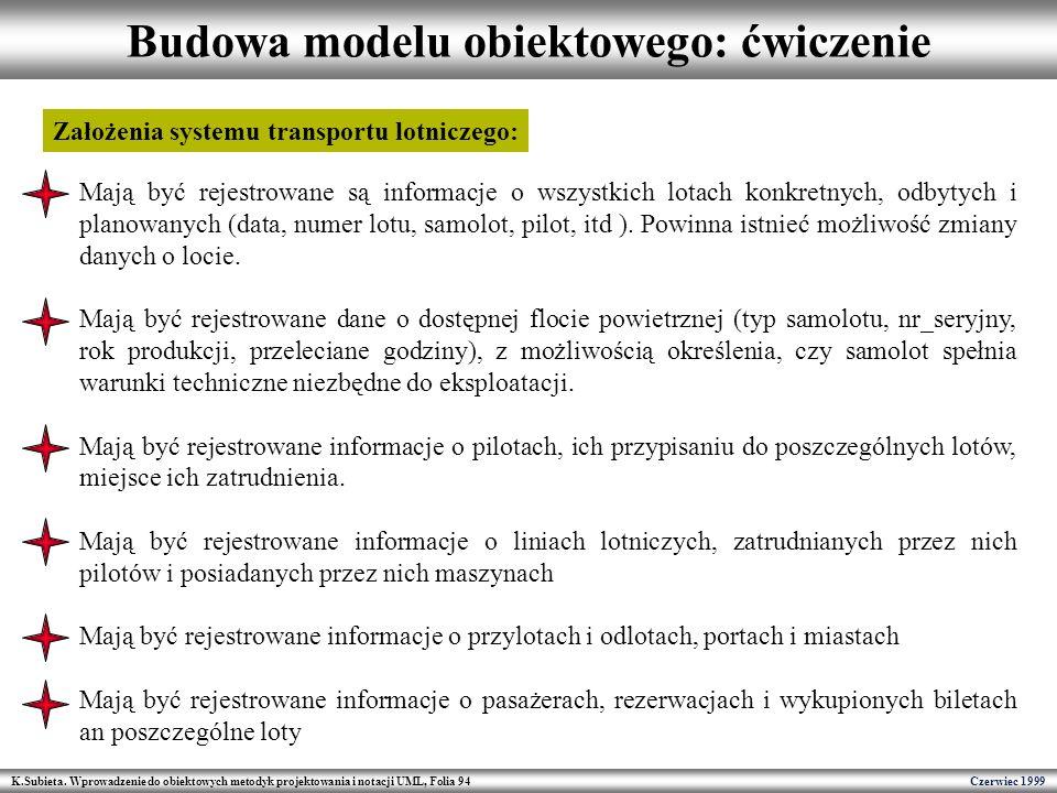 Budowa modelu obiektowego: ćwiczenie