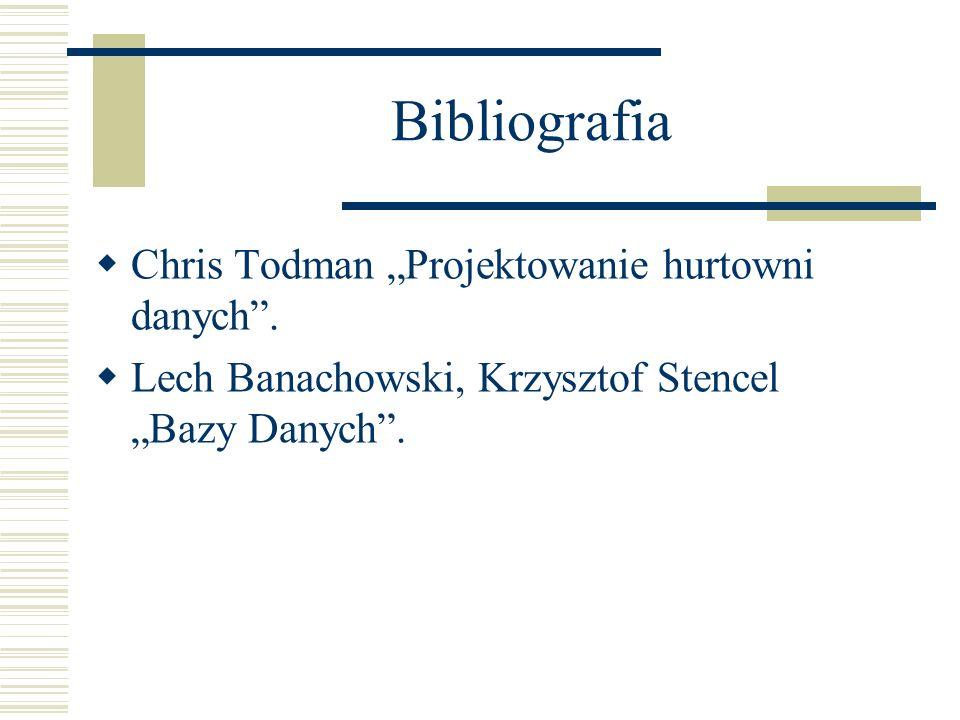 """Bibliografia Chris Todman """"Projektowanie hurtowni danych ."""
