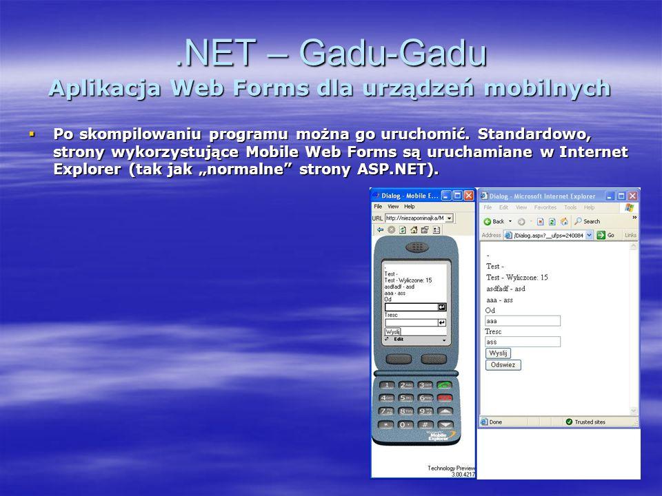 .NET – Gadu-Gadu Aplikacja Web Forms dla urządzeń mobilnych