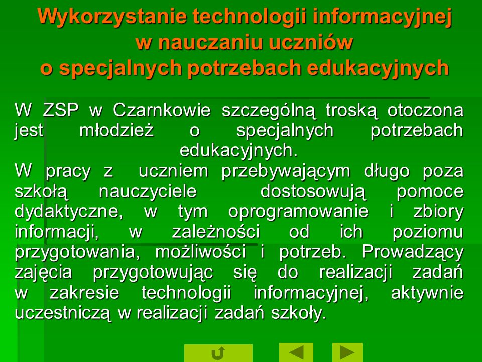 Wykorzystanie technologii informacyjnej w nauczaniu uczniów