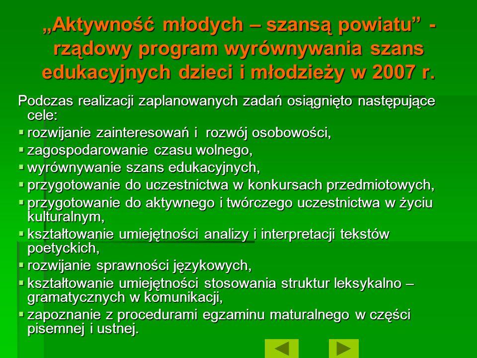 """""""Aktywność młodych – szansą powiatu - rządowy program wyrównywania szans edukacyjnych dzieci i młodzieży w 2007 r."""