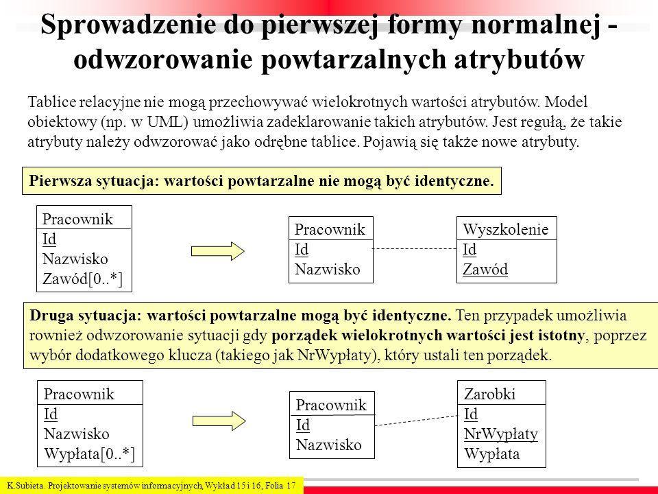 Sprowadzenie do pierwszej formy normalnej - odwzorowanie powtarzalnych atrybutów