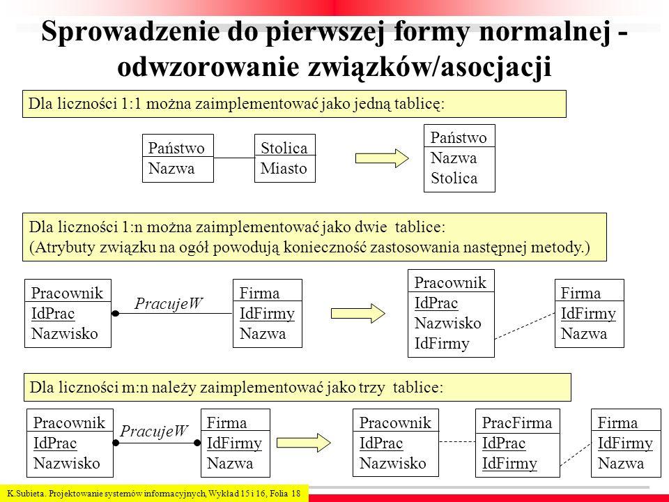 Sprowadzenie do pierwszej formy normalnej - odwzorowanie związków/asocjacji