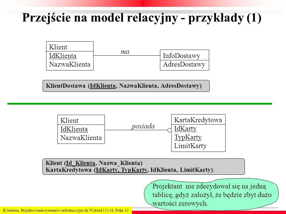 Przejście na model relacyjny - przykłady (1)