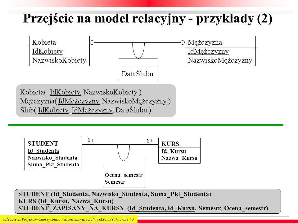 Przejście na model relacyjny - przykłady (2)