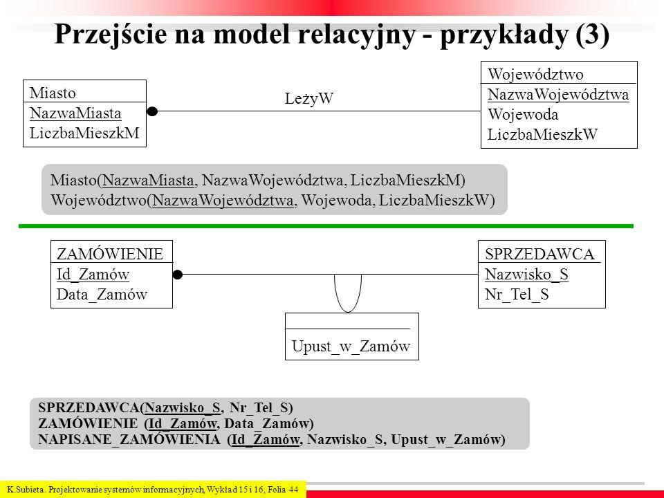Przejście na model relacyjny - przykłady (3)