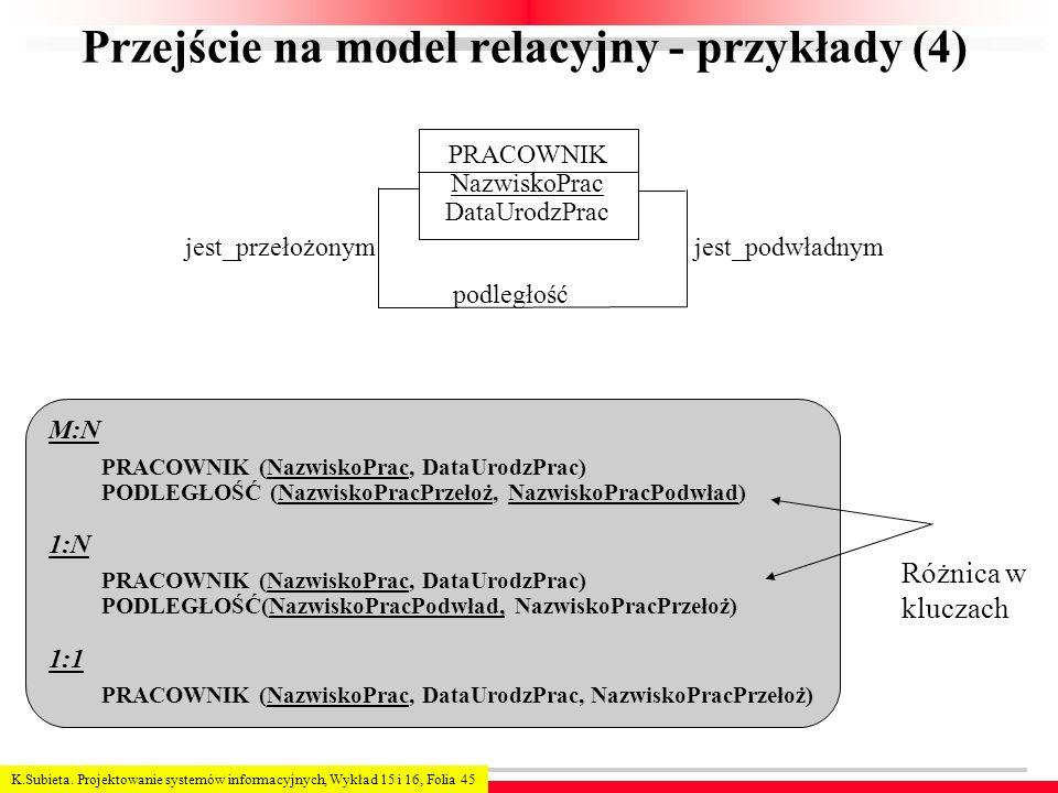 Przejście na model relacyjny - przykłady (4)