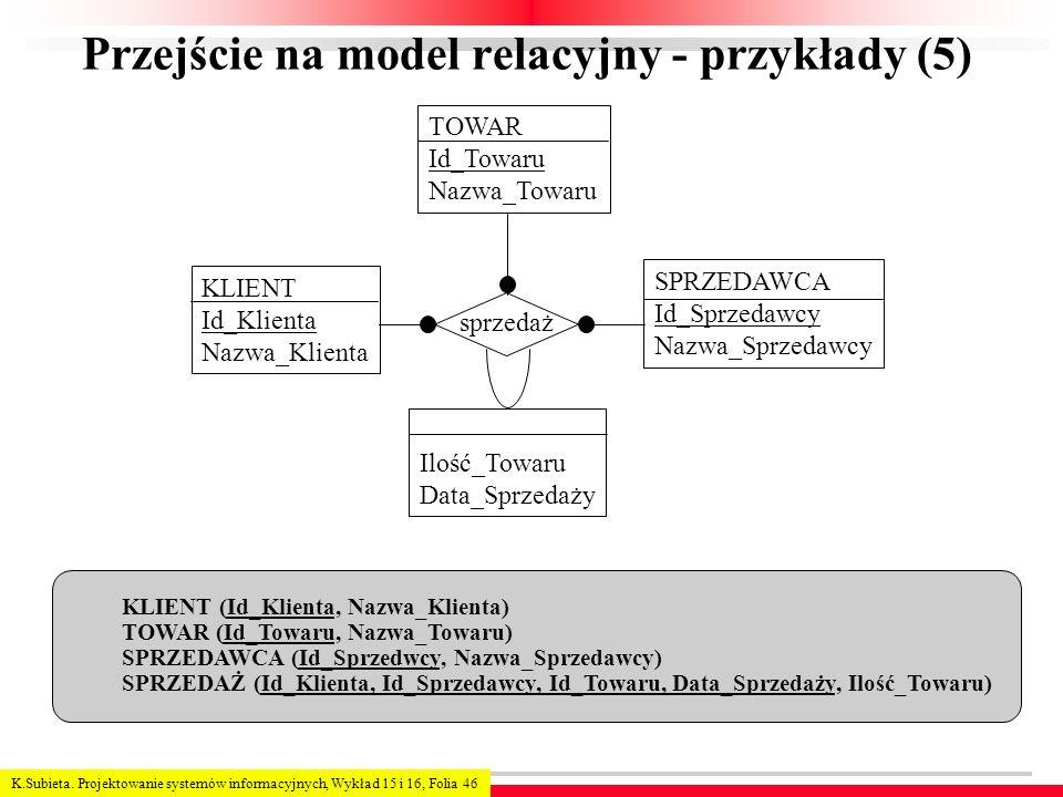 Przejście na model relacyjny - przykłady (5)