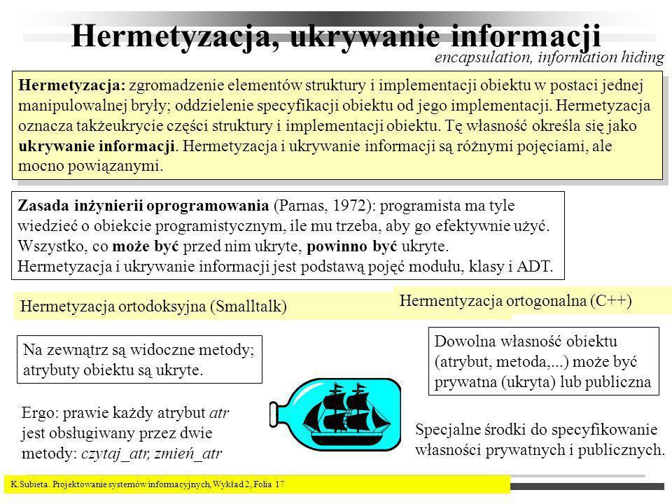 Hermetyzacja, ukrywanie informacji