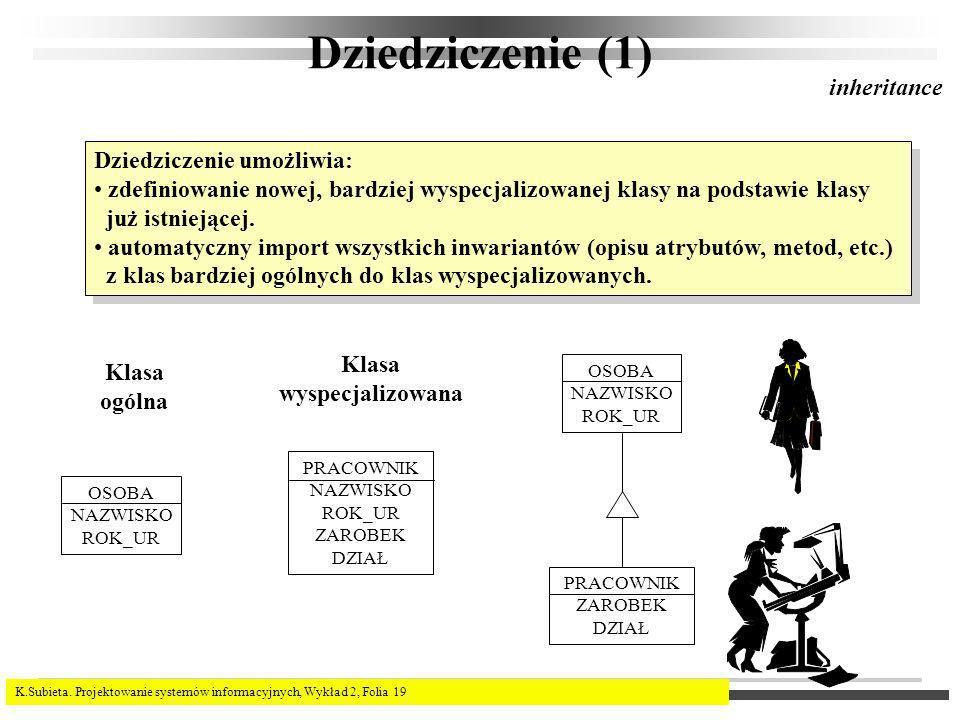 Dziedziczenie (1) inheritance Dziedziczenie umożliwia: