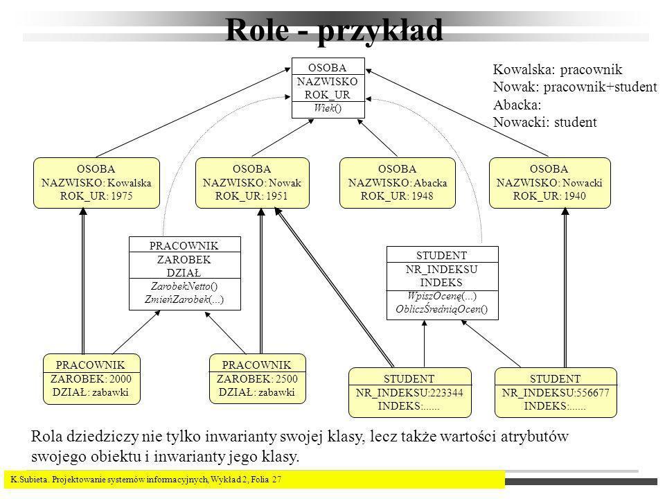 Role - przykład OSOBA. NAZWISKO. ROK_UR. Wiek() Kowalska: pracownik. Nowak: pracownik+student.