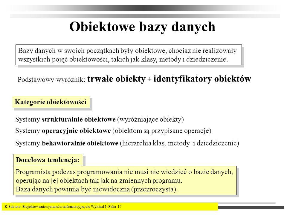 Obiektowe bazy danych Bazy danych w swoich początkach były obiektowe, chociaż nie realizowały.