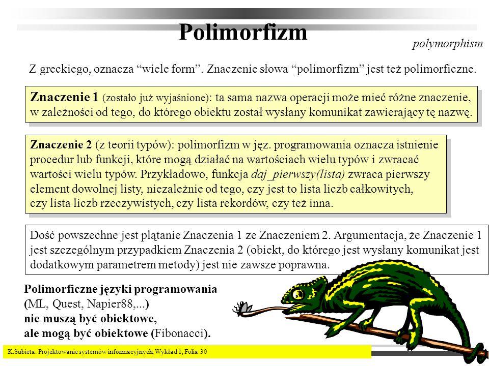 Polimorfizm polymorphism. Z greckiego, oznacza wiele form . Znaczenie słowa polimorfizm jest też polimorficzne.