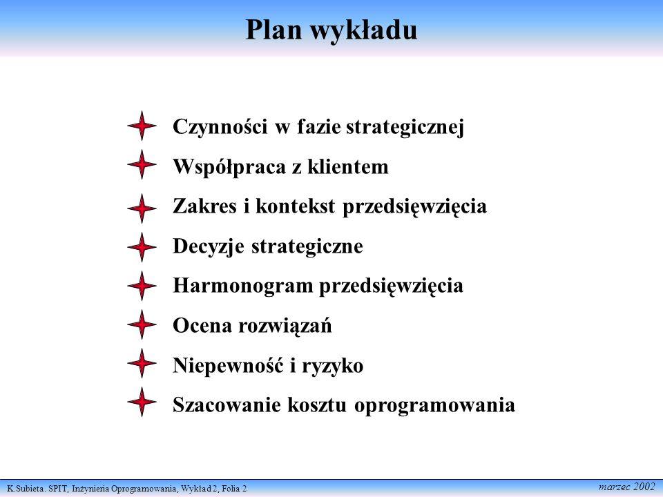 Plan wykładu Czynności w fazie strategicznej Współpraca z klientem