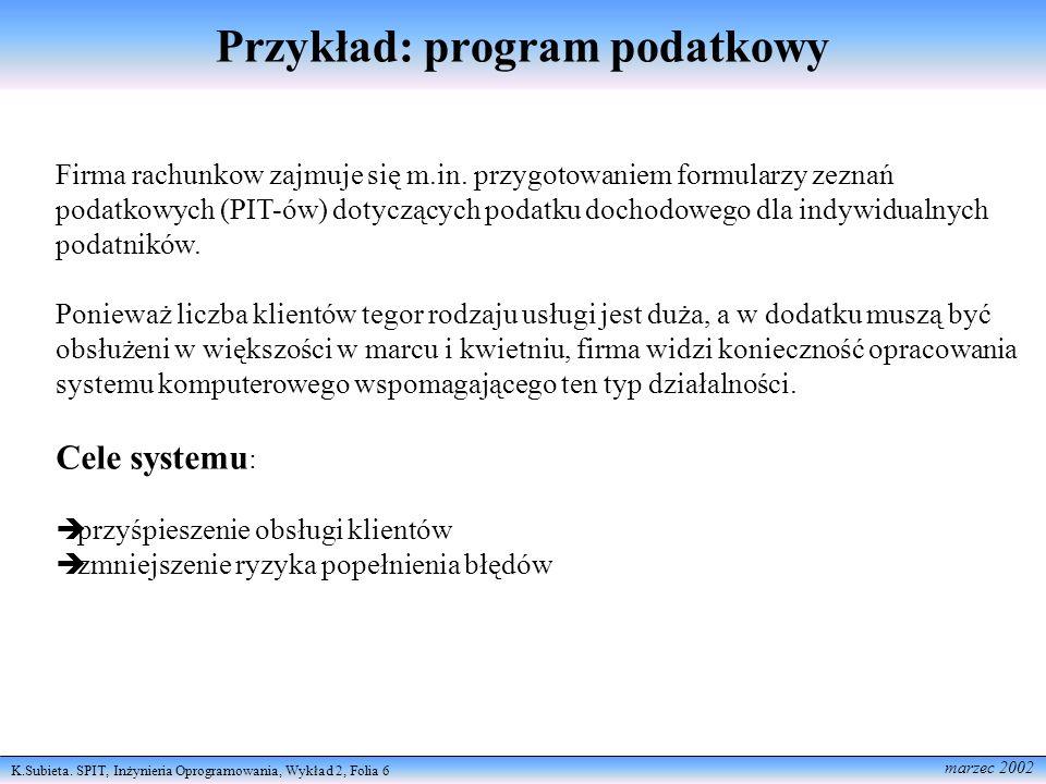 Przykład: program podatkowy