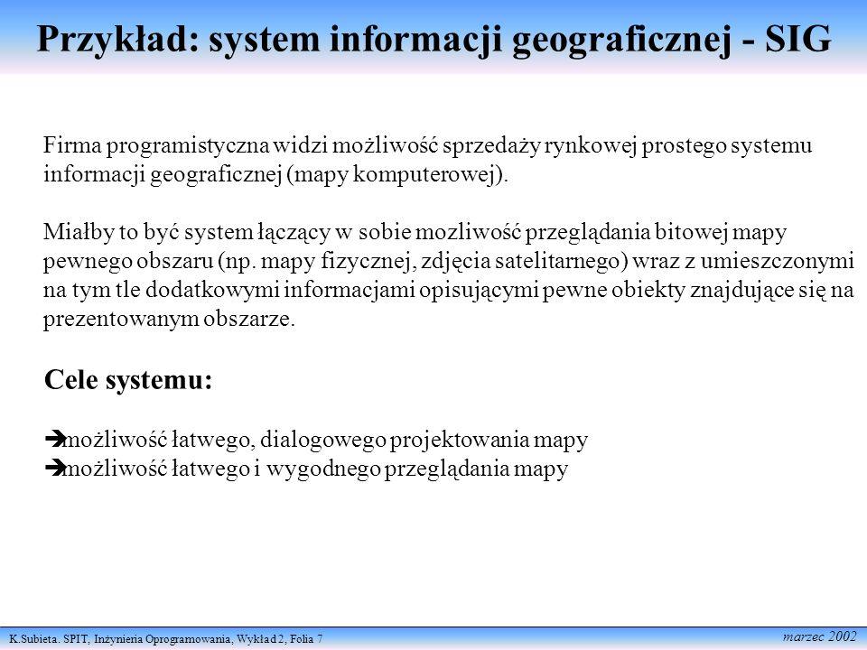 Przykład: system informacji geograficznej - SIG
