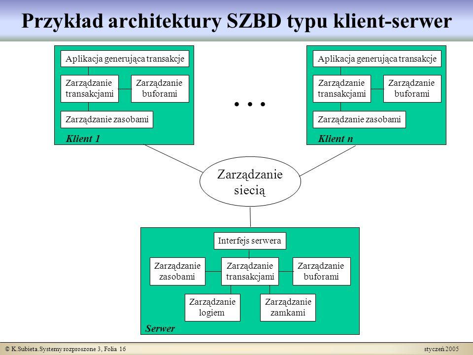 Przykład architektury SZBD typu klient-serwer