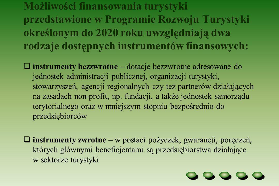 Możliwości finansowania turystyki przedstawione w Programie Rozwoju Turystyki określonym do 2020 roku uwzględniają dwa rodzaje dostępnych instrumentów finansowych: