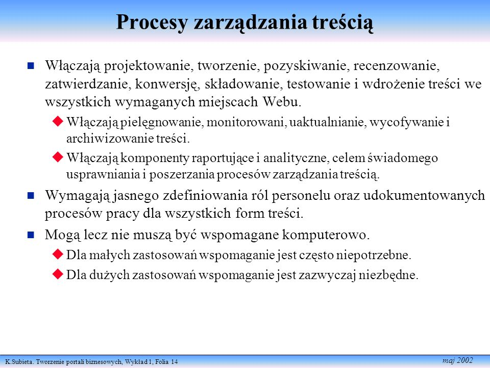 Procesy zarządzania treścią