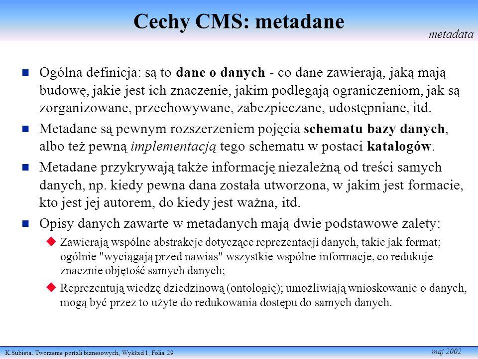Cechy CMS: metadane metadata.