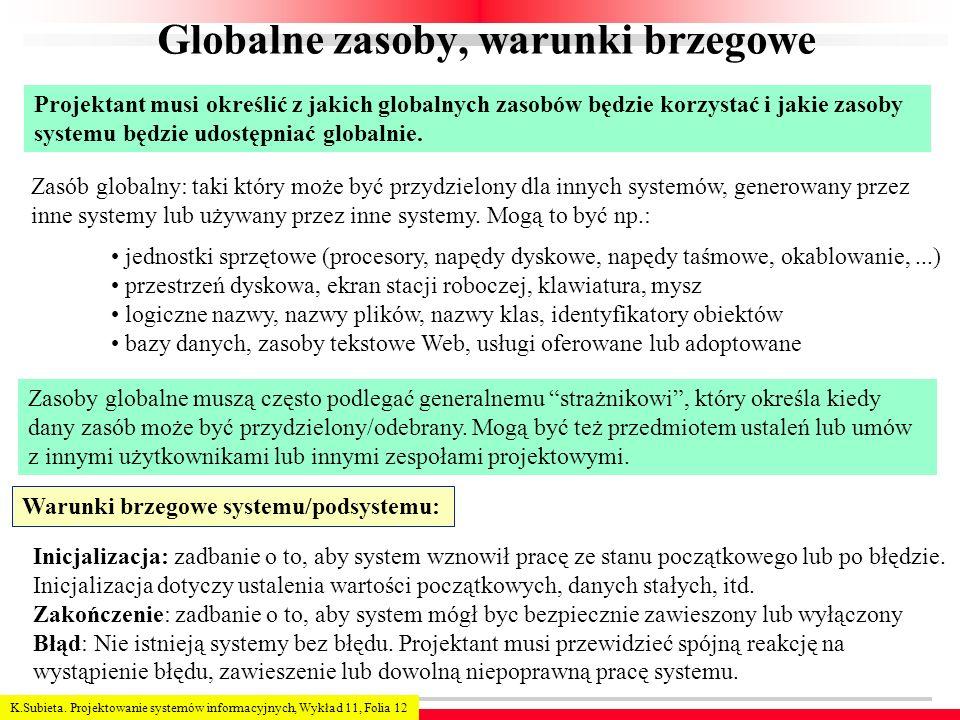 Globalne zasoby, warunki brzegowe