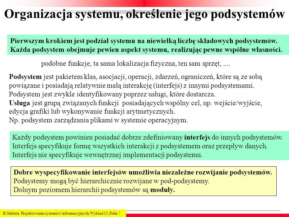 Organizacja systemu, określenie jego podsystemów