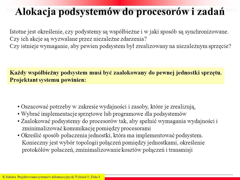 Alokacja podsystemów do procesorów i zadań