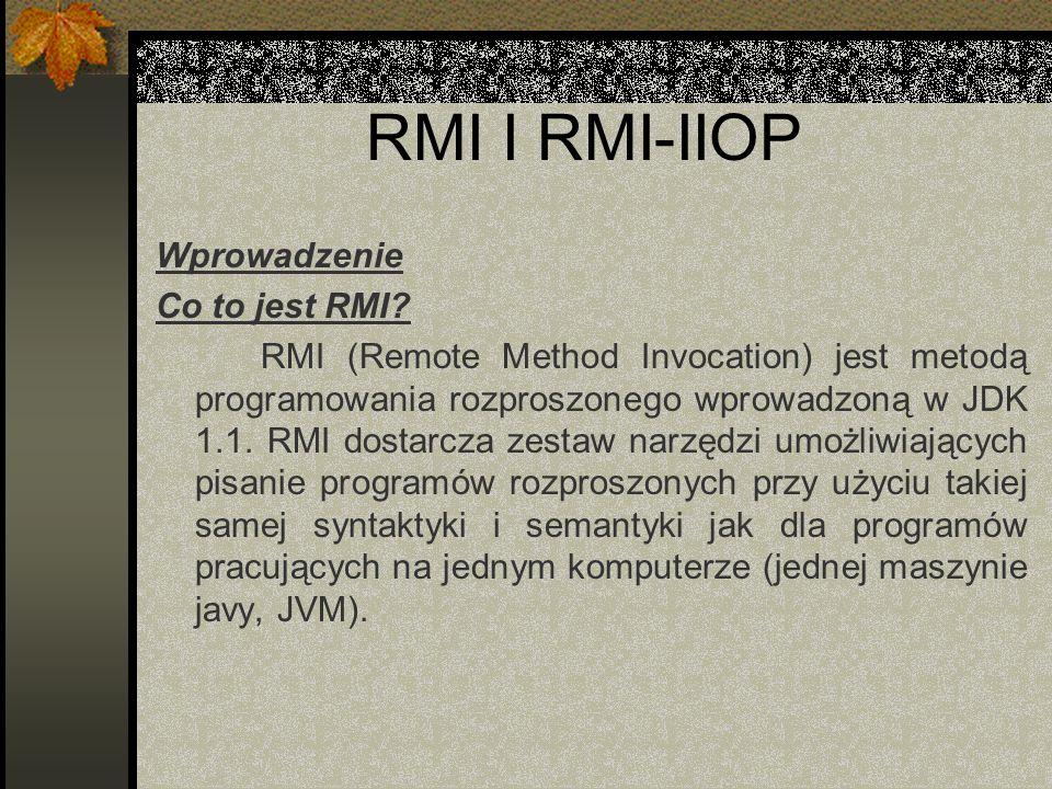 RMI I RMI-IIOP Wprowadzenie Co to jest RMI