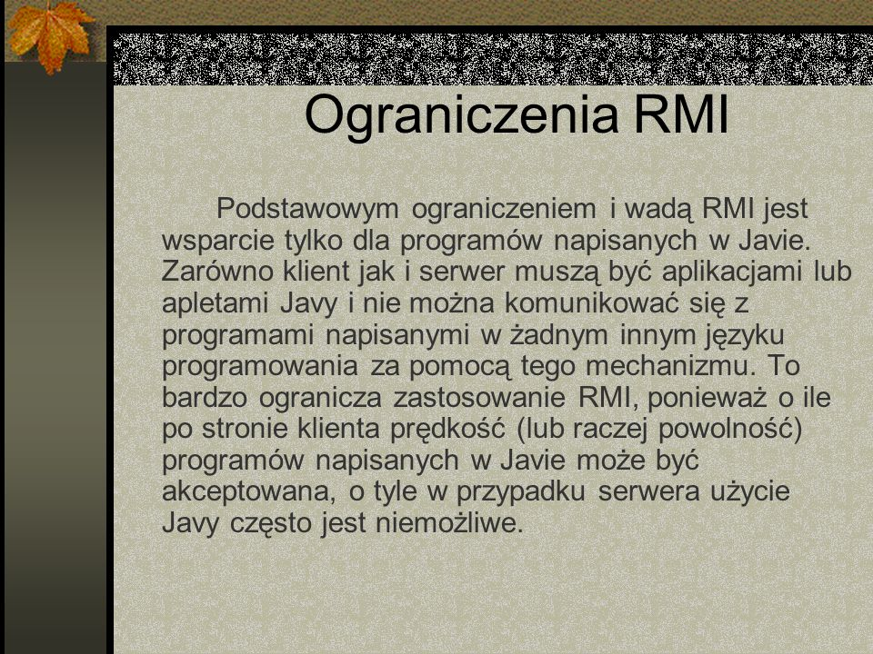 Ograniczenia RMI