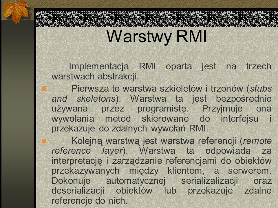 Warstwy RMIImplementacja RMI oparta jest na trzech warstwach abstrakcji.
