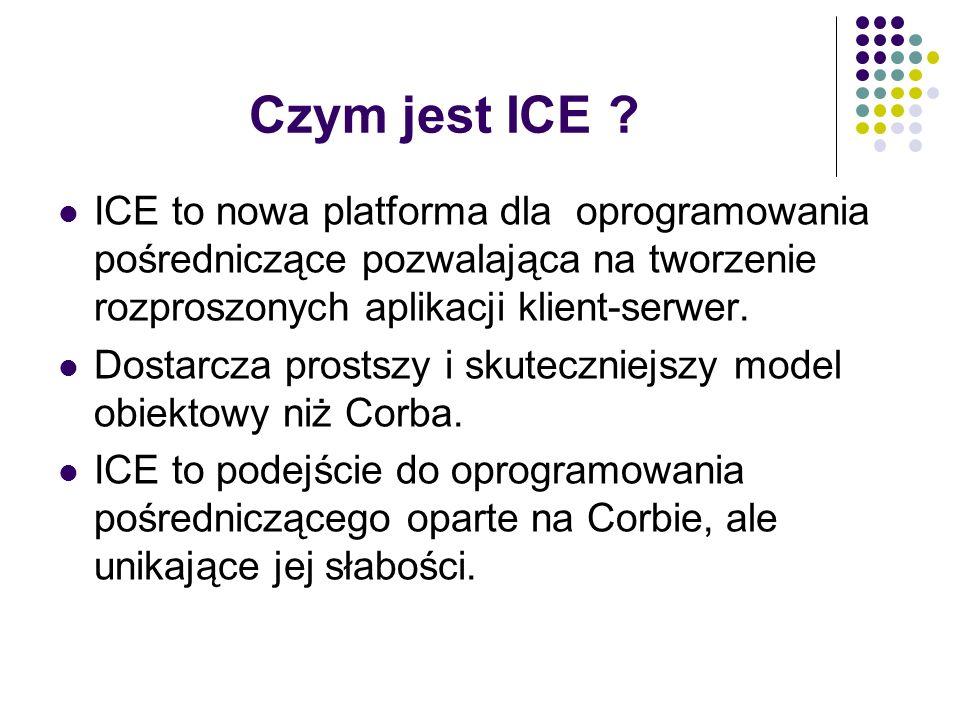 Czym jest ICE ICE to nowa platforma dla oprogramowania pośredniczące pozwalająca na tworzenie rozproszonych aplikacji klient-serwer.