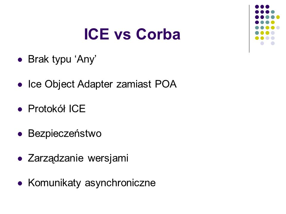 ICE vs Corba Brak typu 'Any' Ice Object Adapter zamiast POA