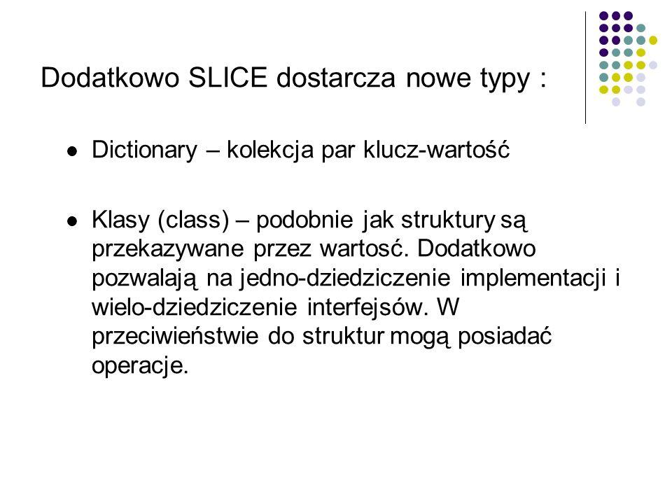 Dodatkowo SLICE dostarcza nowe typy :