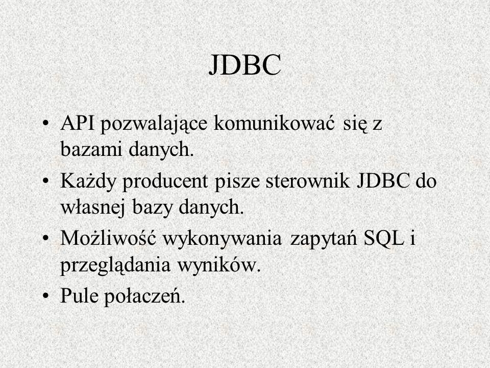JDBC API pozwalające komunikować się z bazami danych.