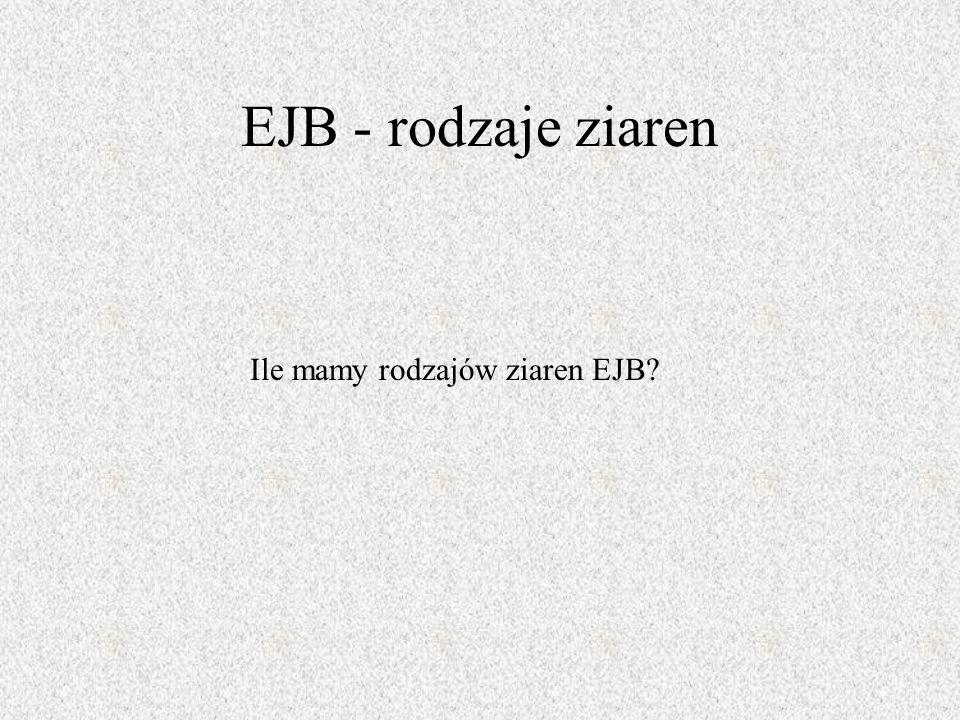 EJB - rodzaje ziaren Ile mamy rodzajów ziaren EJB