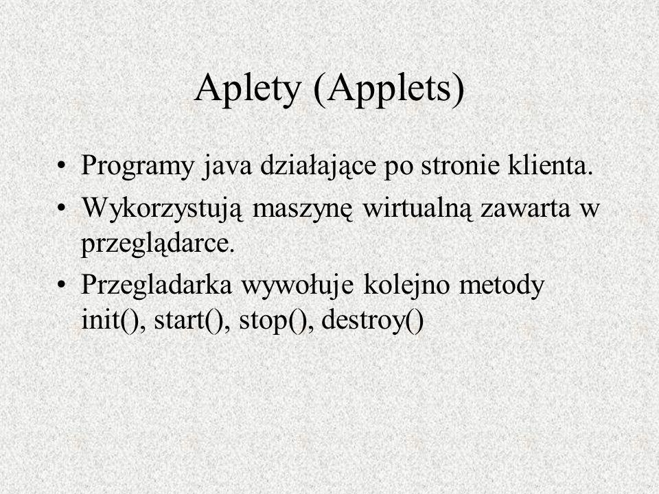 Aplety (Applets) Programy java działające po stronie klienta.