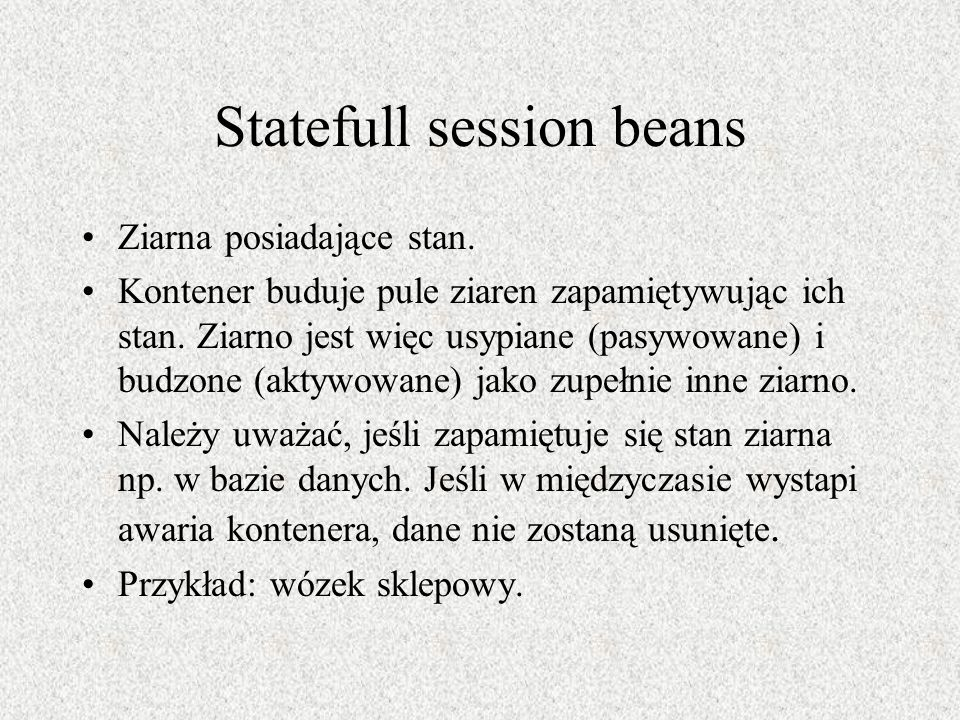 Statefull session beans