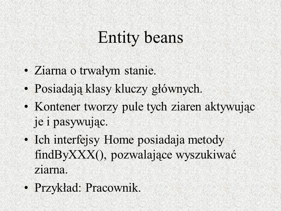 Entity beans Ziarna o trwałym stanie. Posiadają klasy kluczy głównych.