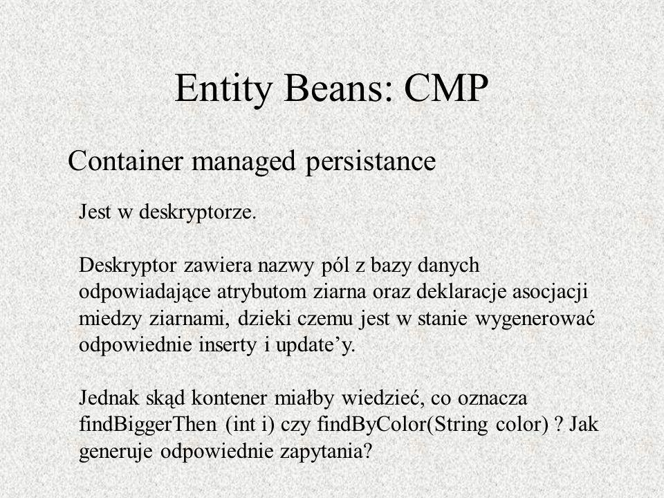 Entity Beans: CMP Container managed persistance Jest w deskryptorze.