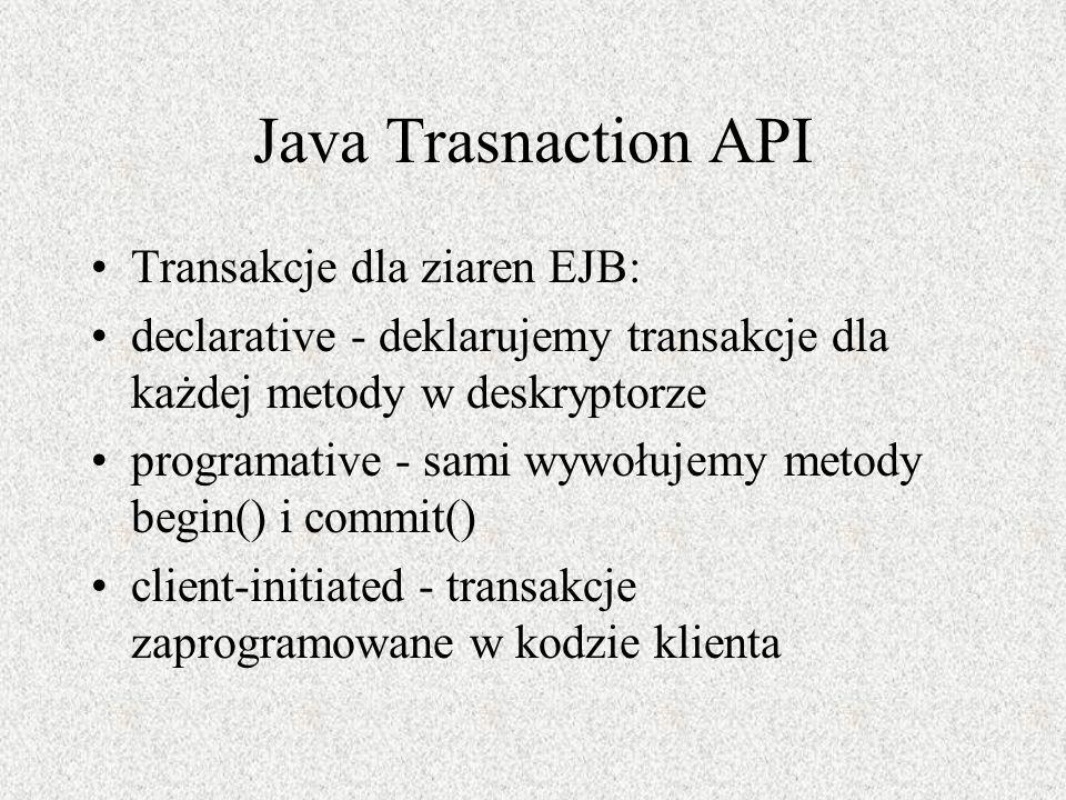Java Trasnaction API Transakcje dla ziaren EJB: