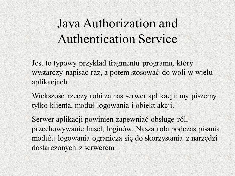 Java Authorization and Authentication Service