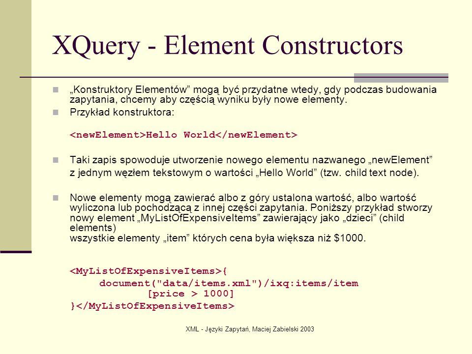 XQuery - Element Constructors