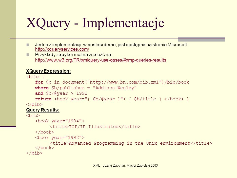 XQuery - Implementacje
