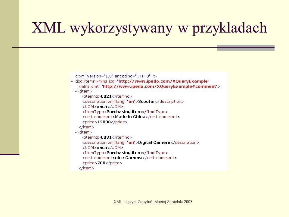 XML wykorzystywany w przykladach
