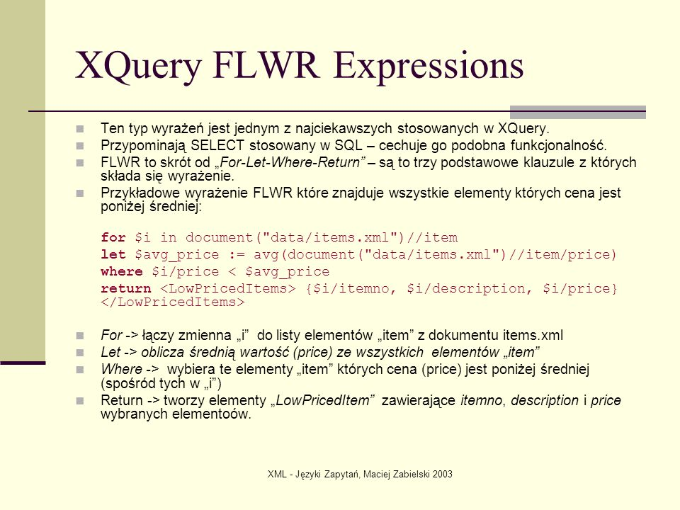 XQuery FLWR Expressions