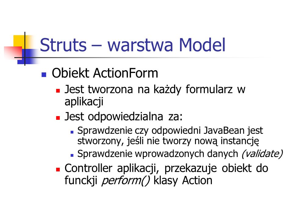 Struts – warstwa Model Obiekt ActionForm